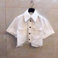 Белая блузка женская летняя элегантная свободная Стильная блуза с коротким рукавом с карманами 2019 модная женская новая короткая блузка