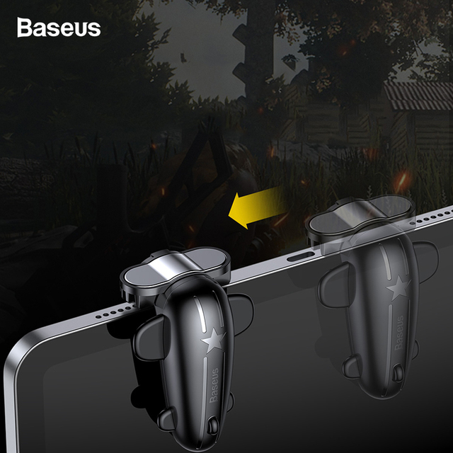 Baseus 2PC Control Gaming Trigger For PUBG Games Shooter Fire Button Shooting Game Joystick For iPad Pro Xiaomi Huawei Tablets