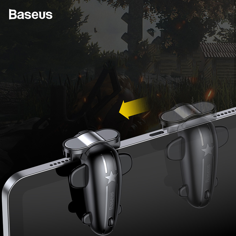 Baseus 2PC Control Gaming Trigger For PUBG Games Shooter Fire Button Shooting Game Joystick For iPad Pro Xiaomi Huawei Tablets image