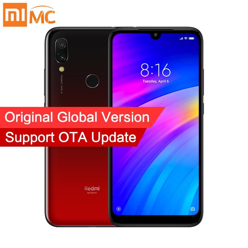 Versão global xiaomi redmi 7 3 gb ram 64 gb rom 4000 mah smartphone 12mp câmeras duplas snapdragon 632 octa núcleo 6.26