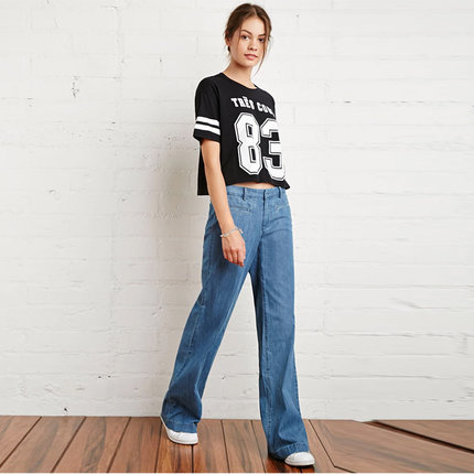 2016 New Style Womans Wide Leg Jean Pants , Slim Fashion Casual Denim Trousers For Women , Female Large size Jeans Y0516-76E anne klein new deep black slim leg ponte director women s 2 dress pants $89 361
