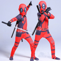 Deadpool Cosplay Costume Kids 3D Marvel Spandex Lycra Jumpsuit Boys Superhero Costume With Sword Bag Full Set Of Equipment