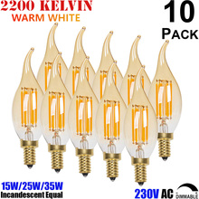 Amber Glass C35 Flame Tip E14 LED Candle Shape Filament Small Edison Light Bulb 2W 4W 6W 230V 220V Dimmable Bombilla de luz led
