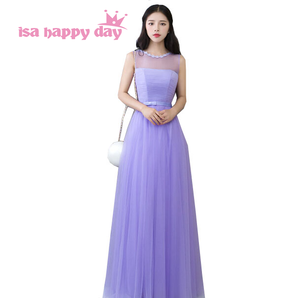 high fashion western style long lilac lavender tulle   bridesmaid     dress   women brides maid   dresses   under 100 gown 2019 H3736