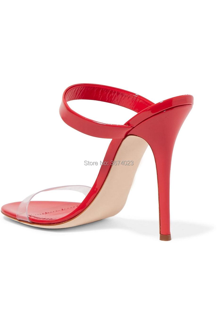 Aguja Qianruiti Diseño Abierta Zapatos Sandalias Tacones Las Punta Y Partido Mujeres Charol Plexiglás Altos De Del Verano Panel xHxqfdrwO