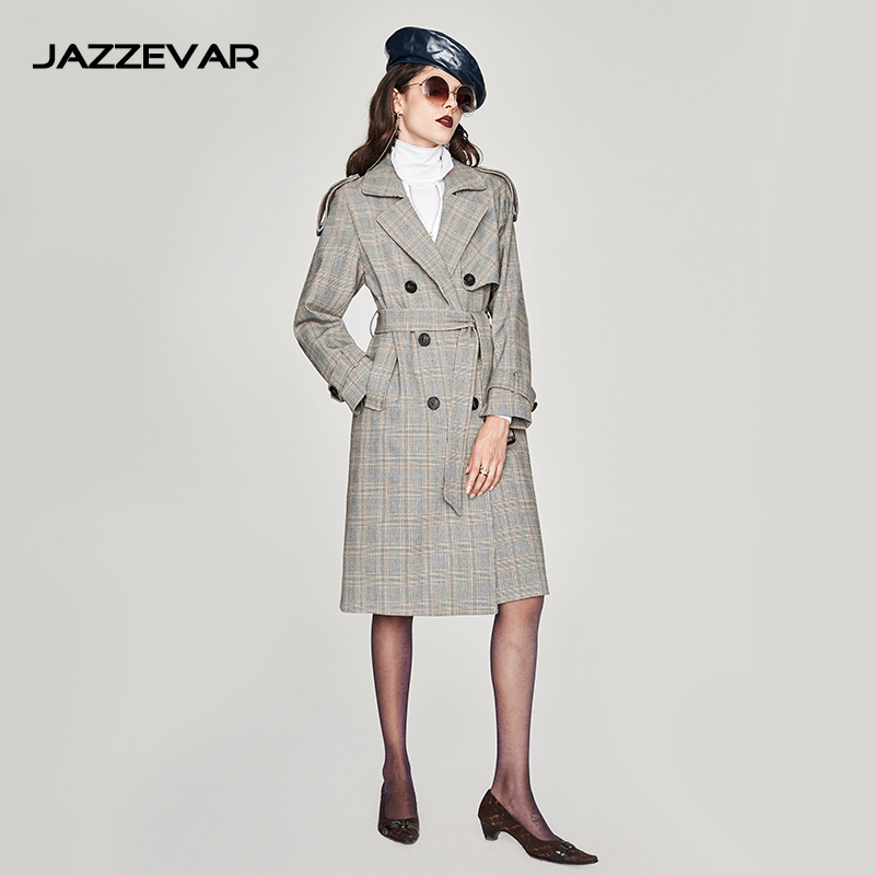 Cascade Chart See 2019 Piste Printemps vent Plaid Femmes Coupe Femelle coat Trench Gris Long Manteaux Breasted Taille Grande Double Dames SqwRAUt4