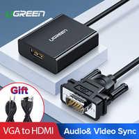Adaptador Ugreen VGA a HDMI 1080P VGA macho a HDMI hembra Convertidor para ordenador portátil HDTV Monitor Video Audio Cable HDMI a VGA