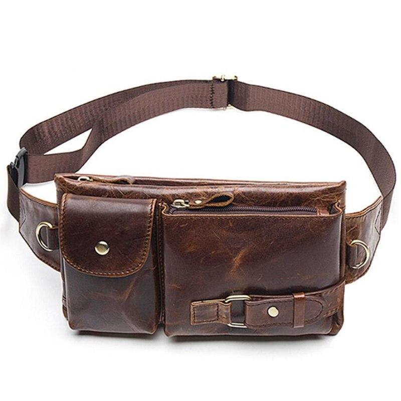 Pacote de Cintura Bolsa do Mensageiro do Vintage Bolsa de Couro Genuíno de Alta Crossbody para Homens dos Homens de Moda Casual Qualidade Prático Bolsas