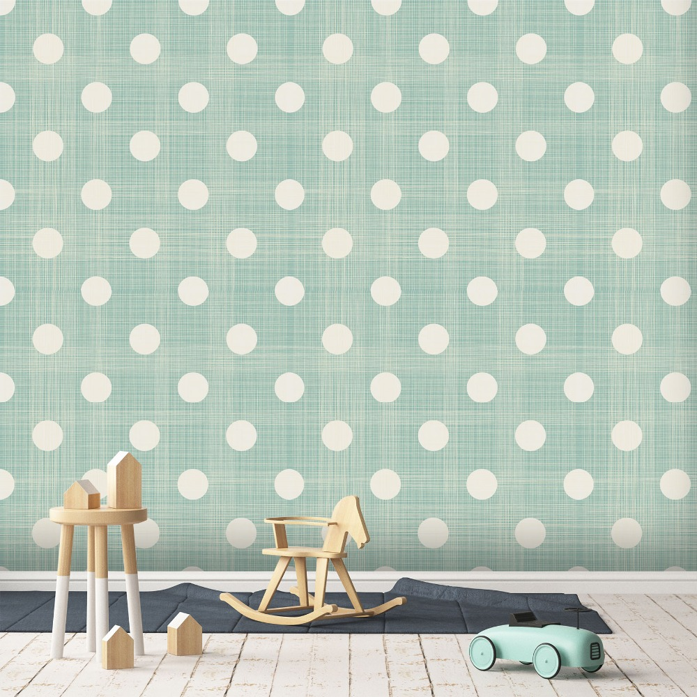 [Self-Adhesive] 3D Cute Blue White Dots 71 Wall Paper Mural Wall Print Decal Wall Murals