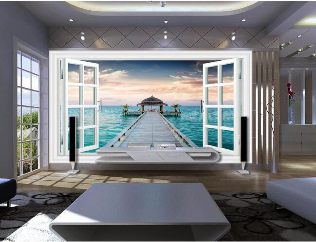 3d wallpaper custom mural non-woven wall stickers The 3 d window scenery sea bridge TV setting wall photo wallpaper for walls 3d 3d wallpaper custom mural non woven 3d room wallpaper wall stickers abstract tree 3 d tv setting photo wall paper for walls 3d