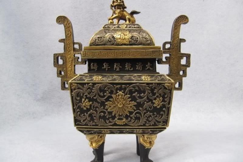 100% Pure Bronze 24K Gold Gild Buddhism Chrysanthemum Lion Censer Incense Burner