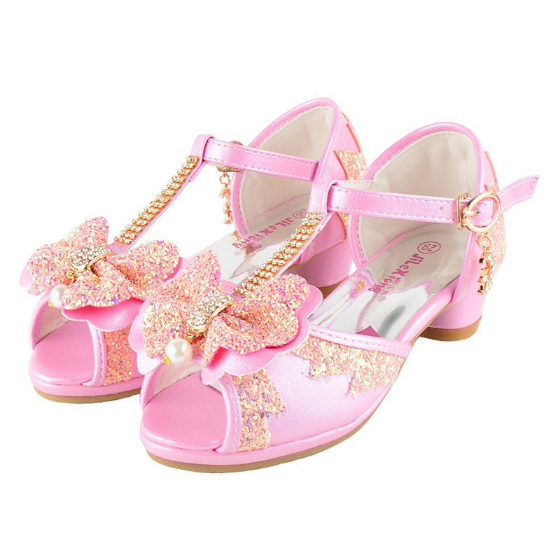 aea8ecf96ce5 Sibahe Girls Sandals High heeled Children Flower Girl Party Shiny Princess  Shoes Kids Rhinestones Bowknot Lace Sandals Pink-in Leather Shoes from  Mother ...