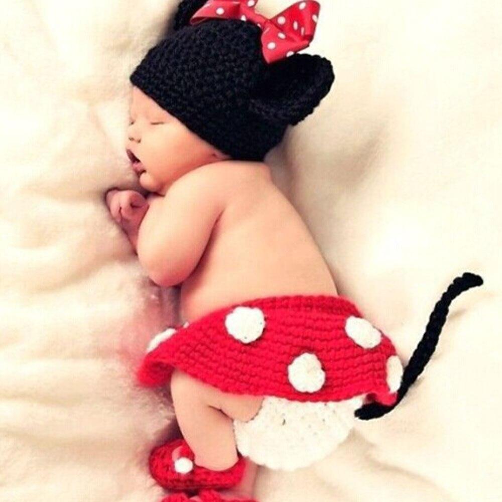 4 pièce/ensemble bébé chapeau nouveau-né photographie accessoires filles Crochet tricoté casquette tissé à la main Photo Costume accessoires chapeaux 0-6M