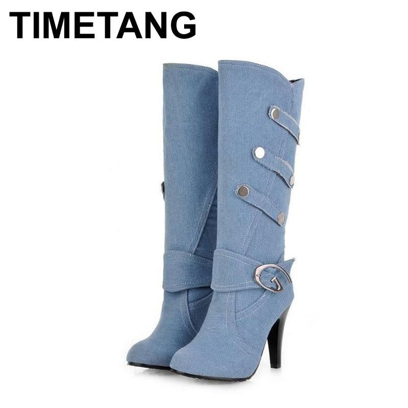 big size fall knee high boots high heels