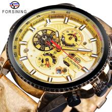 Forsining 2019 Golden Racing Mens Mechanical Watch Automatic Shiny Gold Color Leather Band Wrist Watches Reloj Hombre
