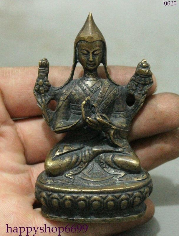 TNUKK Tibet Tantra Buddhist Old Pure Bronze Buddha Statue.