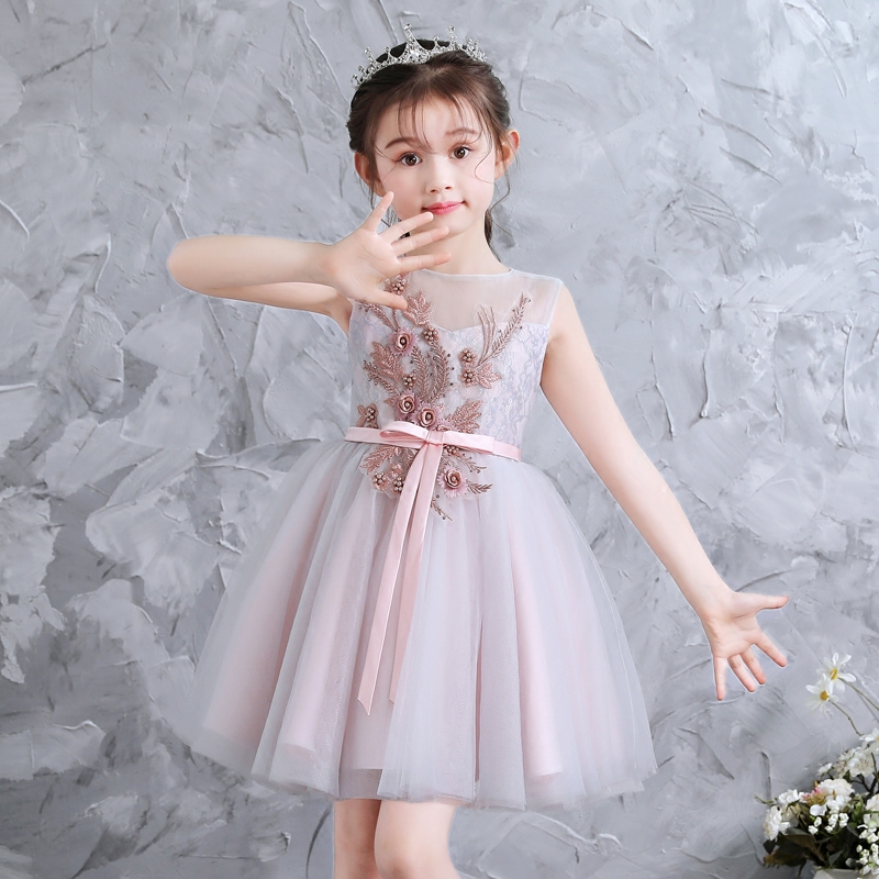 2018 Summer New Kids Children Flowers Lace Prom Shoulderless Dress Formal Wear Princess Dress For Baby Girl Birthday Party Dress children s wear russia court style mosaic flowers side large hem princess dress