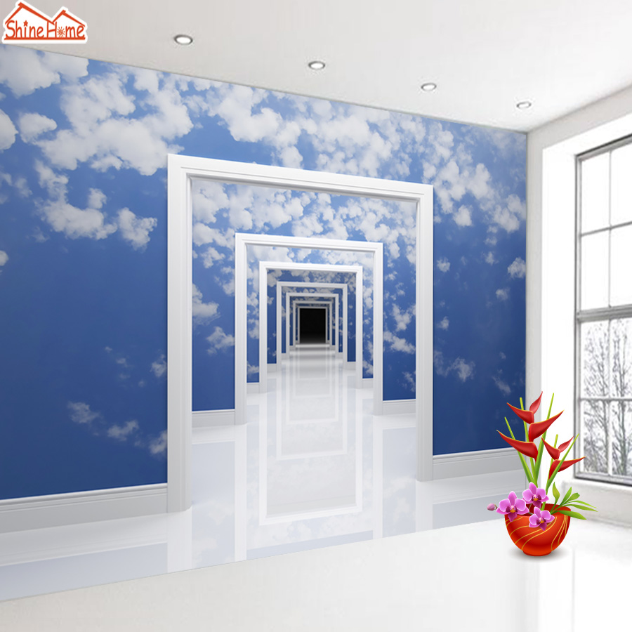 ShineHome-Blue Sky Cloud Space Frame Door Gateway 3d Wallpaper for Walls 3 d  Livingroom Wall Paper Murals Wallpaper Mural Roll shinehome city building wallpaper black and white 3d murals for walls 3 d wallpapers for livingroom kids 3 d mural roll room