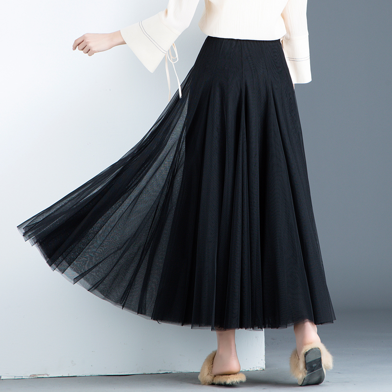 2018 summer new long lace skirt women black pleated A line plus size lady elegant skirts top quality