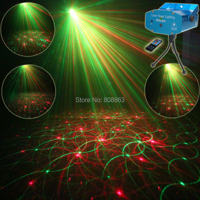 Mini R&G Remote 4 Patterns Laser Projector Club Bar Coffee Shop Dance Disco Home Party Xmas DJ lighting Light Show + Tripod R4 rg mini 3 lens 24 patterns led laser projector stage lighting effect 3w blue for dj disco party club laser