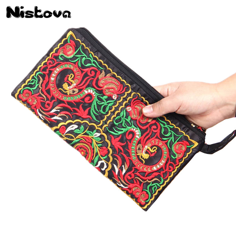 Ladies Clutch Floral Handbag Embroidery Women's High-Quality Features Ethnic-Style Retro