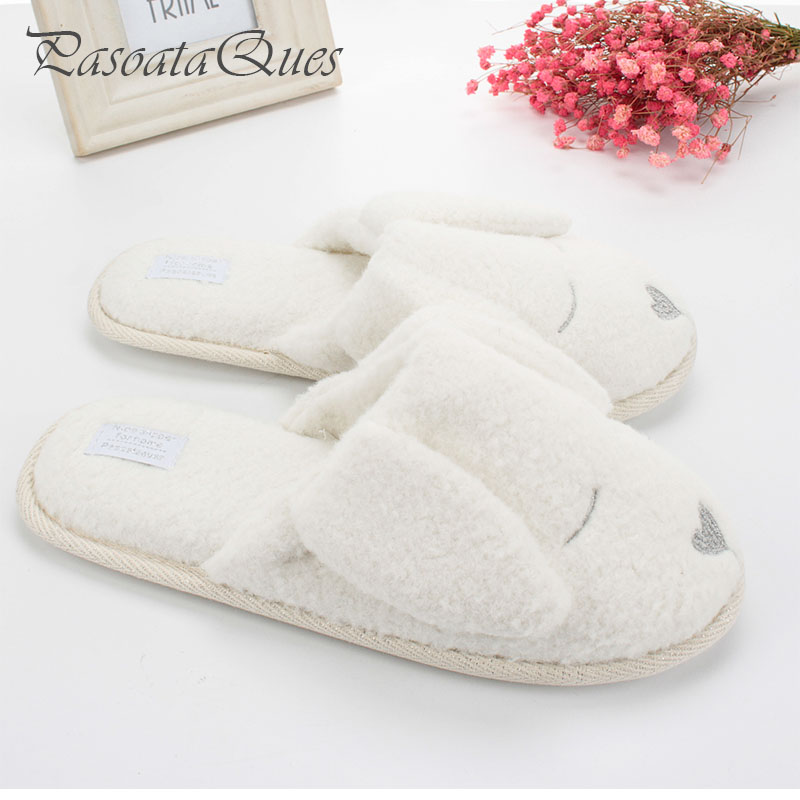 Cute Dog Animal Pattern Cotton Home Slippers Women Indoor Shoes For Bedroom Adult Guest House Slippers