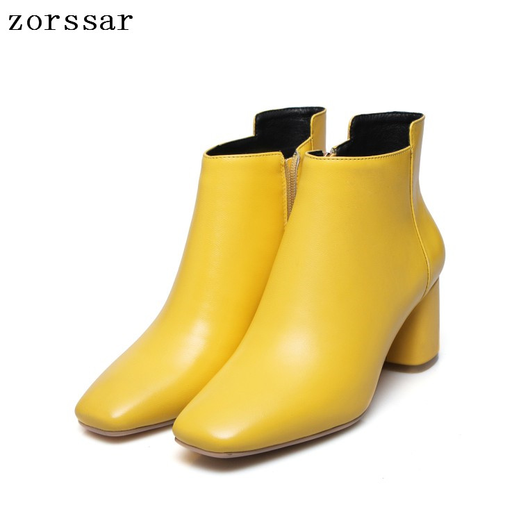 все цены на {Zorssar} 2019 New Square Toe High heels Ankle Boots Winter Women Genuine Leather Square High Heel Female booties Big Size 34-43 онлайн