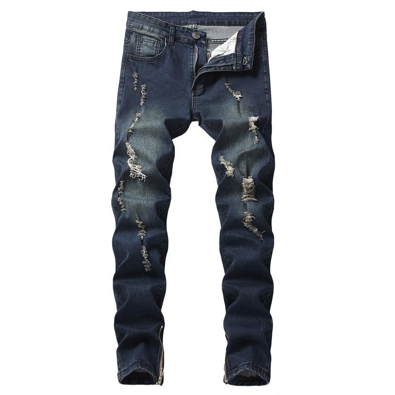 2018 Jeans Di Modo Degli Uomini Casual Pantaloni Montato Gonne E Pantaloni Della Chiusura Lampo Hip Hop Dritto Scarni Elastici Maschio Streetwear Pantaloni In Denim