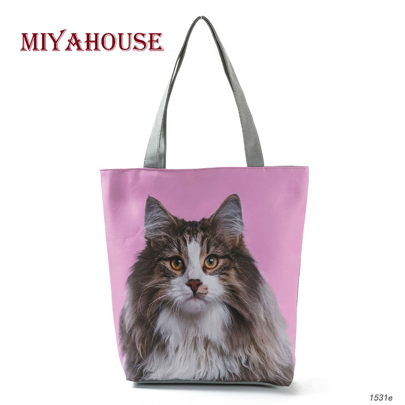 Miyahouse New Fashion Female Shopping Bag Cool Cats Print Beach Bags Women Canvas Handbags Cartoon Print Shoulder Bags rope canvas print beach bag