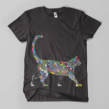 Floral Cat #1 Printed T-Shirt Hipster Design Meow Feline Mens Girls Tee Top New T Shirts Funny Tops  free shipping