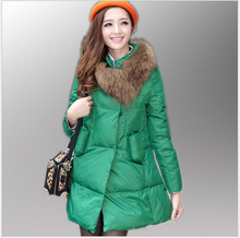 Korea New Fashion Women Winter Duck down Down jacket Elegant Slim Cloak Fur collar Coat Leisure Big yards Thick Warm Coat G2347