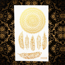 Fashion Hot Gold Dreamcatcher Temporary Tattoo Stickers Women Body Art Arm Legs Tattoo Feather AGH06 Dream Catcher Tattoos Flash