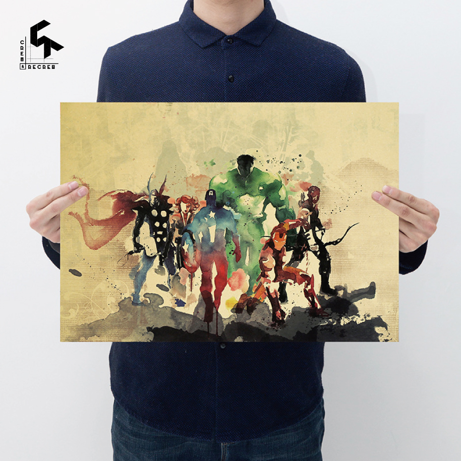 CREATE&RECREATE Kraft Paper Avengers Watercolor Anime Posters And ...