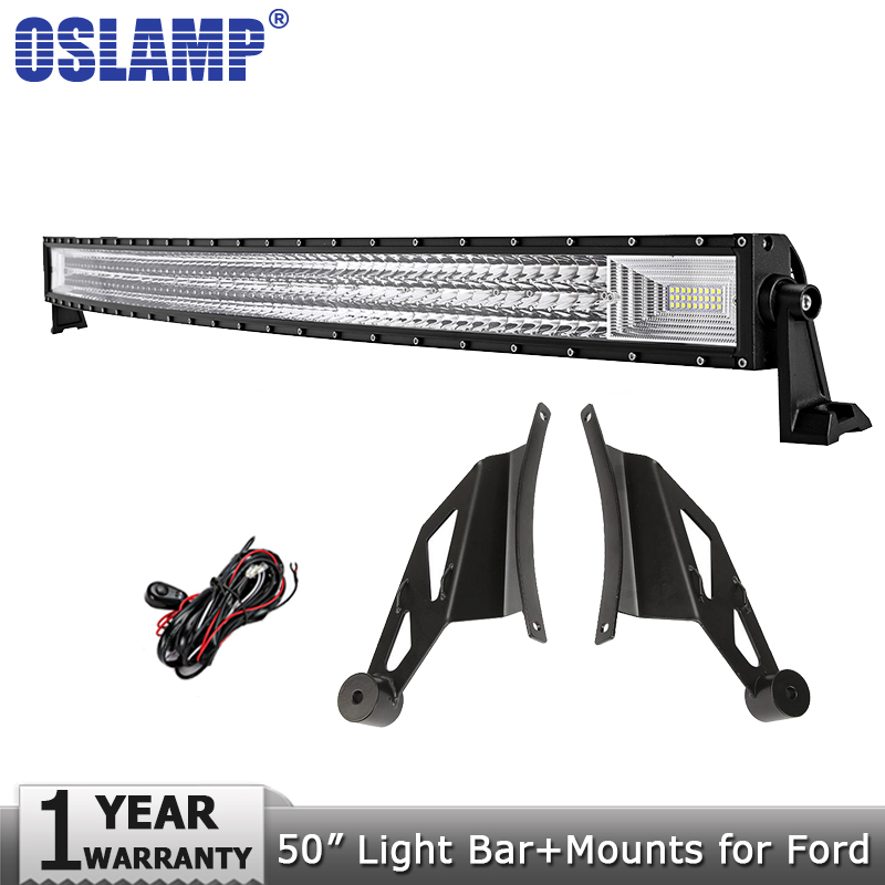 Oslamp 3-Row 50inch 702W Curved LED Work Light Bar Combo Beam Offroad Led Bar Light Driving Lamp 12v 24v for Ford F150 2009-2014