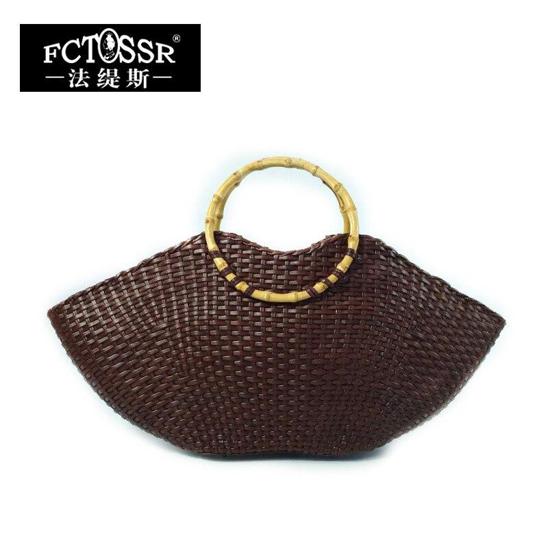 лучшая цена Knitting Genuine Leather Big Tote Bags with Bamboo Handle 2018 Handmade Natural Leather Women Handbag Studded Top-handle Bag
