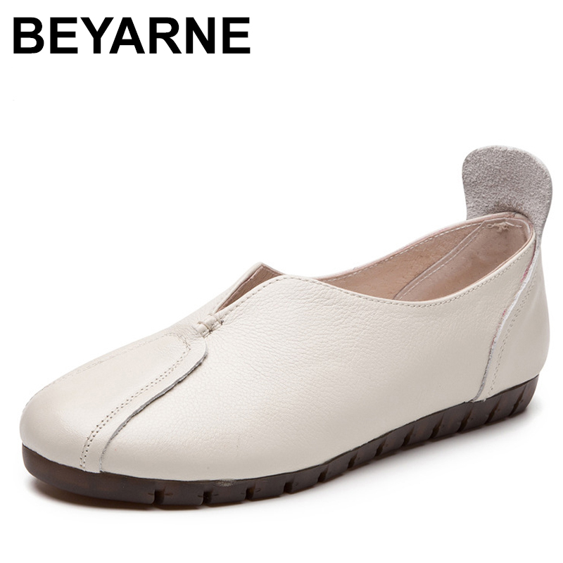 BEYARNE Spring Autumn Women Genuine Leather Loafers Fashion flats grey white black Shoes Woman Slip On loafers Casual Shoes keaiqianjin woman genuine leather shoes spring autumn black brown loafers shoes lazy plus size flats genuine leather loafers