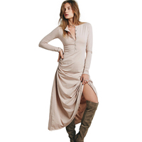 2017 New Arrivel Autumn Winter Women Dress Long Sleeve Casual Party Cotton Half Cardigan Maxi Long