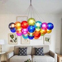 JAXLONG Creative Art Color Glass Ball Restaurant Pendant Light Simple hanglamp Living Room Romantic Bedroom Bubble Lamps lustre