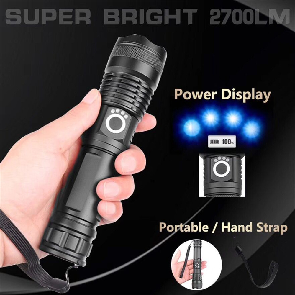 27000LM XHP70 LED Flashlight Ultra powerful XHP50 flashlight Zoom USB flashlight 18650 26650 flashlight hunting lamp rechargeabl in Flashlights Torches from Lights Lighting