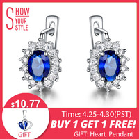 b20262f8d7e1 UMCHO Solid 925 Sterling Silver Gemstone Clip Earrings For Women Blue  Sapphire Fine Jewelry Wedding Engagement