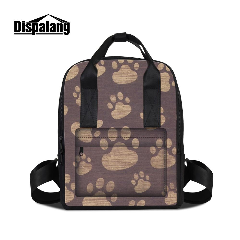 6aa31b91a2a3 US $33.98 30% OFF|Dispalang 3D Print Footprint Patterns on Double Shoulder  Bag for Girl Design Your Own Backpacks for School Higt Quality Bookbag-in  ...