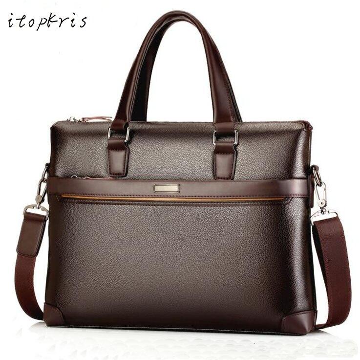Famous Brand PU Leather Man Shoulder Handbag Briefcase Classic Vintage Business Male Bag Tote Messenger Bag