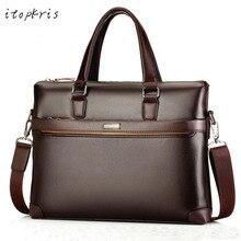 Berühmte Marke Pu-leder Mann Schulter Handtasche Aktentasche Klassische Vintage Business Männlichen Tasche Tote Umhängetasche