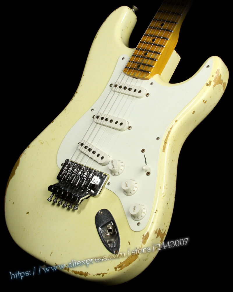 GC Custom Shop Heavy Relic 1956 w/ Floyd Rose Electric Guitar Vintage White custom shop handmade telecast electric guitar limited andy tele version master build relic tl guitar boom switch h s control