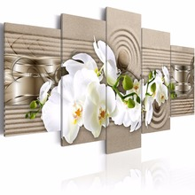 5 Pieces/set Abstract orchid series Canvas Painting Large Sitting Room Decoration Print Canvas Pictures Framed PJMT- (1)
