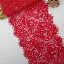 Cindylaceshow 3 metros de ancho 23,5 cm pestaña rojo Floral suave encaje clásico ajuste decoración arte tela de cosido de encaje para la confección de ropa DIY