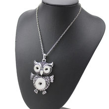 New Fashion Owl Pendant Necklaces 18mm Snap Buttons Interchangeable Retro Charms Necklaces For Men Jewelry(China)