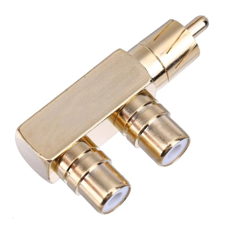 Vanpower Copper Gold Plated RCA Male To 2 RCA Female Right Angle Audio Plug Splitter Adapter Converter Connector 45*22*12mm