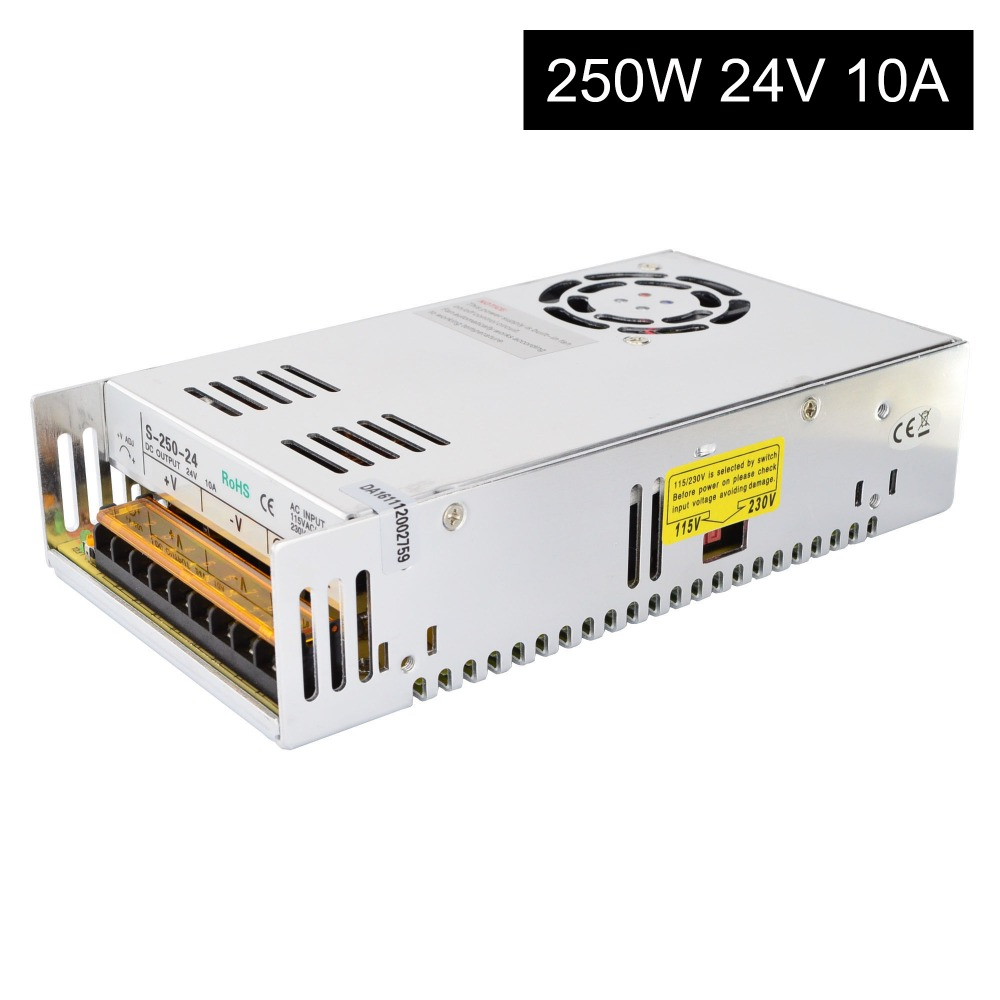 250W 24V 10A 115/230V Switching Power Supply For Stepper Motor 3D Printer CNC Router Kits250W 24V 10A 115/230V Switching Power Supply For Stepper Motor 3D Printer CNC Router Kits