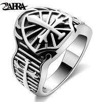 ZABRA Genuine Sterling Silver 925 Sword Cross Vintage Men Ring Retro Black Punk Male Signet Bague Homme Biker Rings Man Jewellry